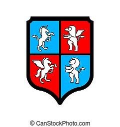 Shield and Animals heraldic set symbol. Pegasus and Lion and Gryphon. Sign Beast for coat of arms. Royal Vector illustration