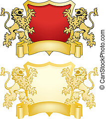 Shield and Banner with Lions
