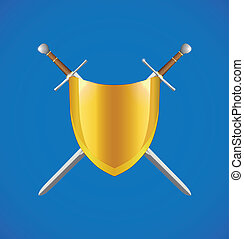 Shield and crossed swords