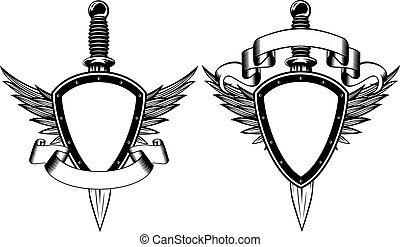 Shield and dagger - Vector illustration shield, wings and...