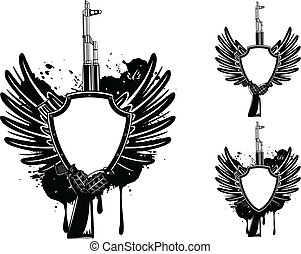 shield and grenade - Vector image shield with automatic...