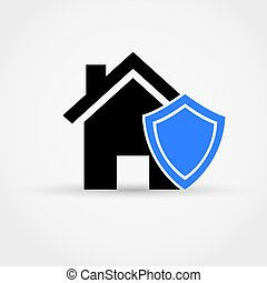 Shield and house, Insurance concept