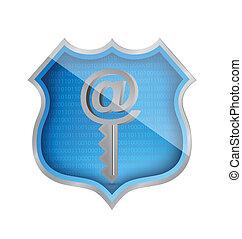 shield and internet key illustration design