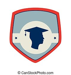 shield and label with silhouette graduate