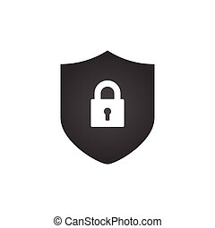 Shield and Lock icon. cyber security concept. Abstract security vector icon illustration isolated on white background.