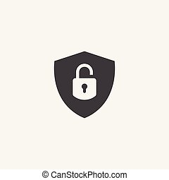 Shield and lock Icon Vector Logo Template, protect logo