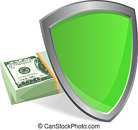 shield and money - security concept