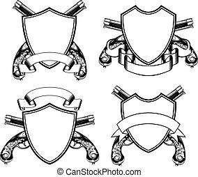 shield and old flintlock pistols