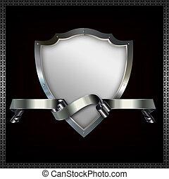 Shield and ribbon. - Decorative riveted shield with ribbon...