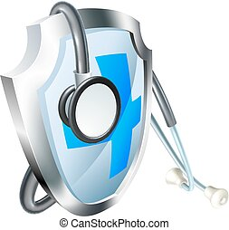 Shield and Stethoscope Medical Concept