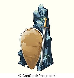 Shield and sword with stone is covered with silt isolated on white background. Archaeological finds of ancient civilizations on the seabed and the ocean floor. Vector cartoon close-up illustration.