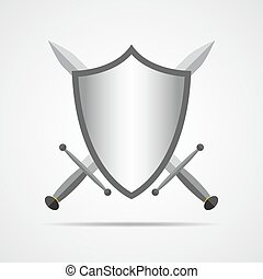 Shield and swords in flat design. Vector illustration. -...