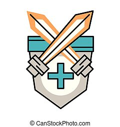 shield and swords isolated icon