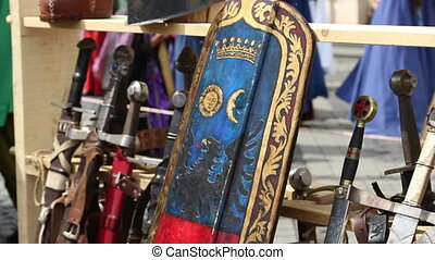 Shield and Swords - Painted royal shield and swords with...
