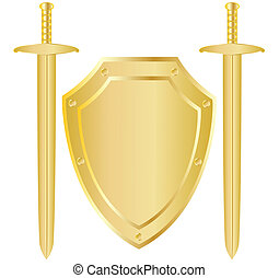 Shield and two swords - Two vector classical medieval sword...