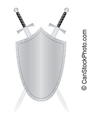 shield and two swords vector illustration