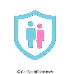 shield., apartamento, proteção, par, família, isolado, ilustração, seguro, experiência., vetorial, soluções, serviços, branca, ícone, concept., design.