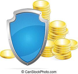 shield., argent, concept, vecteur, protection