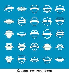 Shield badge icons set, simple style