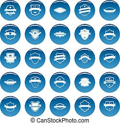 Shield badge vector icons set blue, simple style