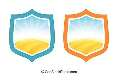 Shield Badges with Farm Field of Wheat