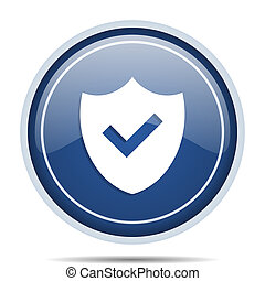 Shield blue round web icon. Circle isolated internet button for webdesign and smartphone applications.