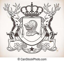 shield., capacete, heraldic, elementos, coroa