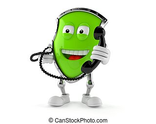 Shield character holding a telephone handset