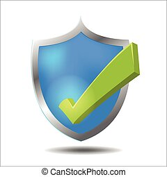 Shield Check Green Mark Symbol Vector