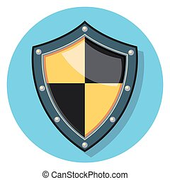 shield circle icon with shadow
