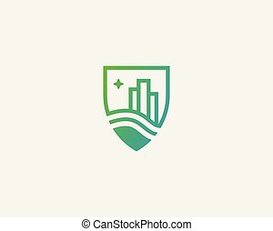 Shield city house logotype. Premium real estate logo.