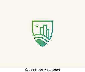 Shield city house logotype. Premium real estate logo.