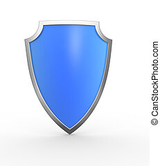Shield - Blue shield. This is a 3d render illustration