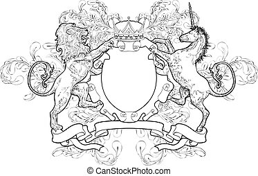 A black and white shield coat of arms element featuring a lion, unicorn and crown