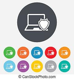 shield., computador portatil, cuaderno, signo., protección