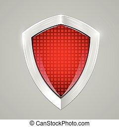 shield., concept., schutz, metall, rotes