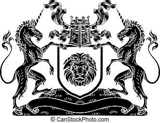 Shield Crest Unicorn Coat of Arms Heraldic