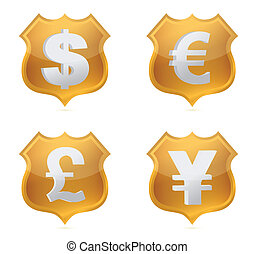 Shield currency signs of protection