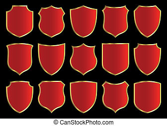 red shield with golden border; design set with various shapes