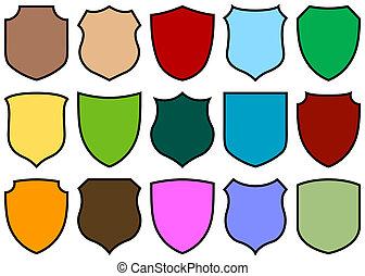 shield design set - simple shield design set with various...