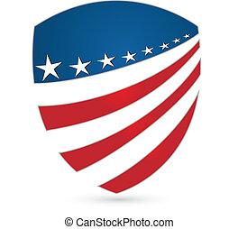 Shield emblem patriotic colors logo vector icon