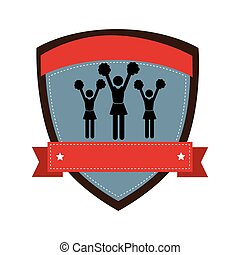 shield emblem with silhouette Cheerleaders and ribbon