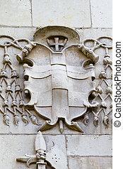 Shield, facade of the University of Alcala de Henares, Madrid, Spain