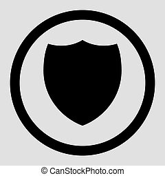 Shield flat black color rounded vector icon