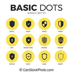 Shield flat icons vector set