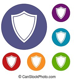Shield for war icons set in flat circle reb, blue and green...