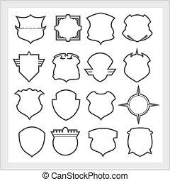 Shield frames icons set - vintage heraldic shields - Shield...