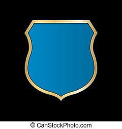 Gold-blue shield shape icon. Bright logo emblem metallic sign isolated on black background. Empty shape shield. Symbol of security, protection, defense. Shiny element design Vector illustration