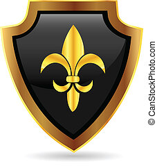 Shield gold emblem logo - Shield gold emblem with fleur de...