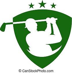 Shield Golf Logo Icon Design